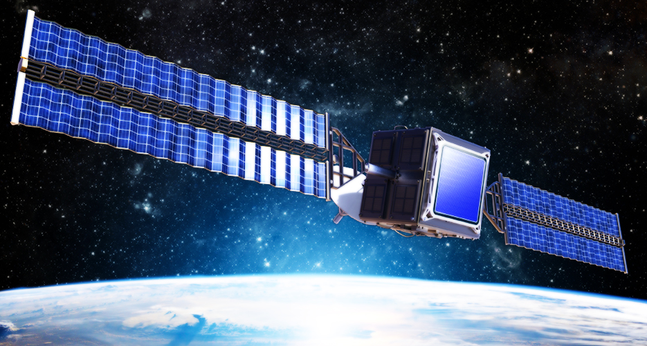 An artist's impression of a satellite using a flat SPIDER array.