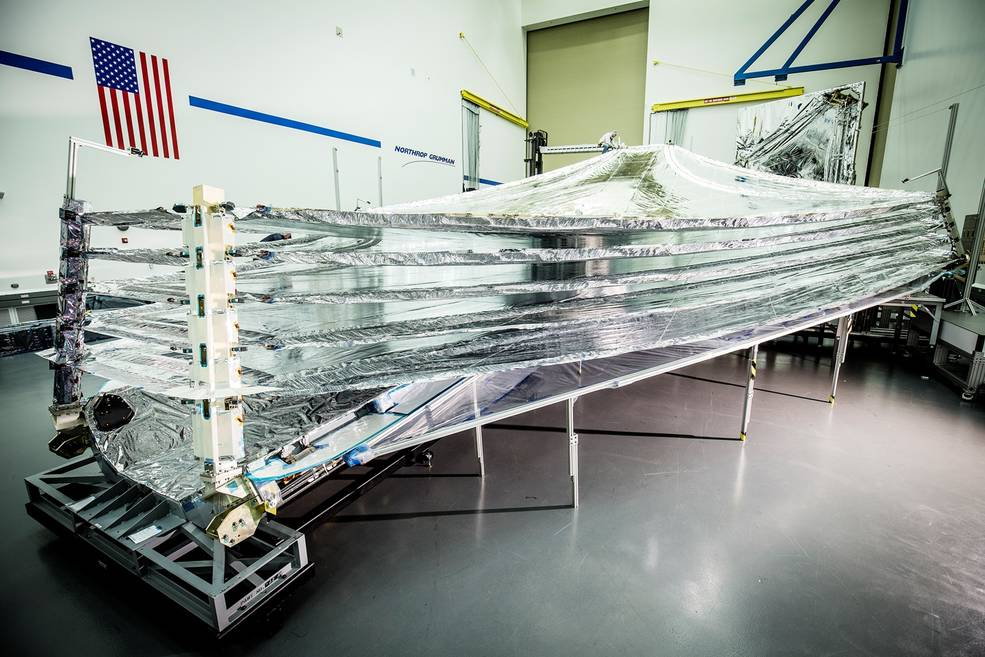 The sunshields that will protect the sensitive sensor equipment on the James Webb Space Telescope.