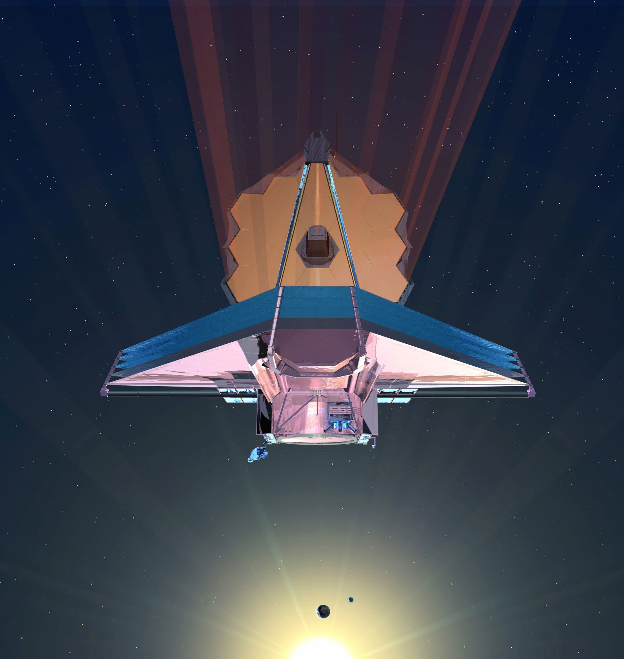 An artist's rendition of the James Webb Space Telescope in space.