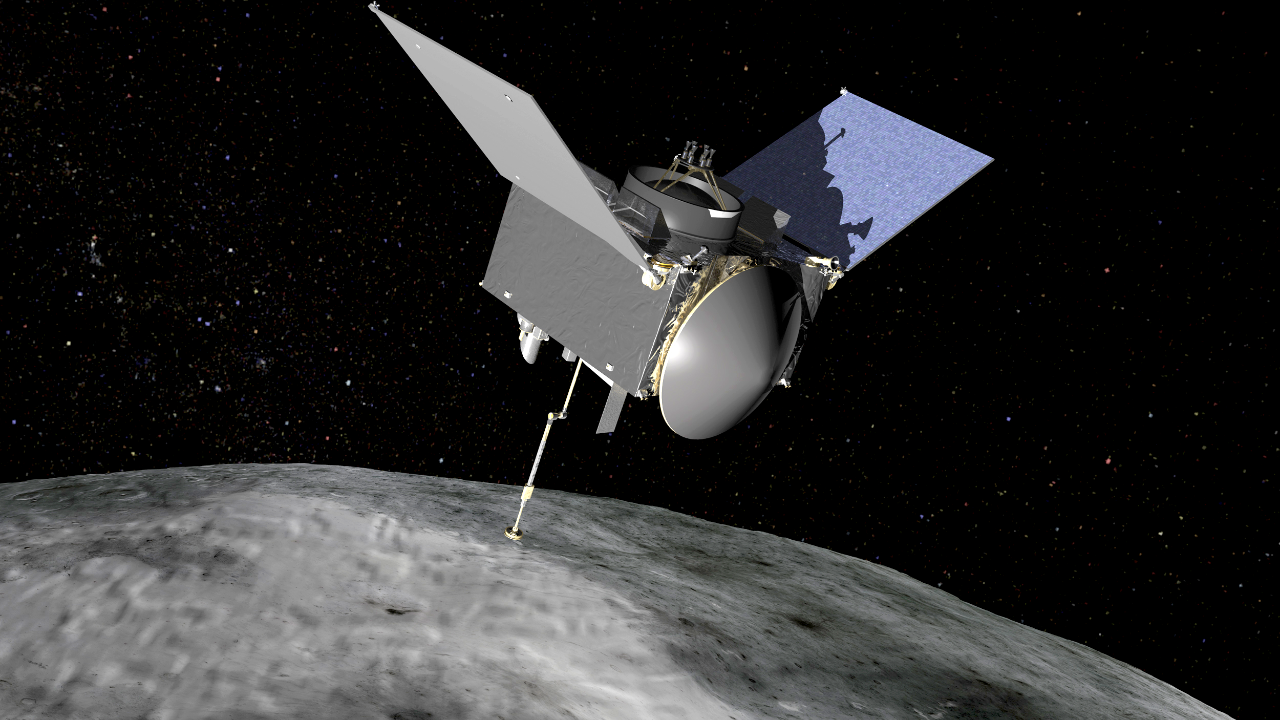 An artist's impression of the OSIRIS-REx probe sampling the asteroid Bennu.