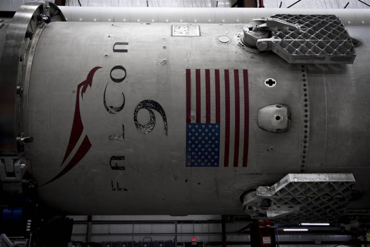 A used SpaceX Falcon 9 rocket sits in SpaceX's stockpile.