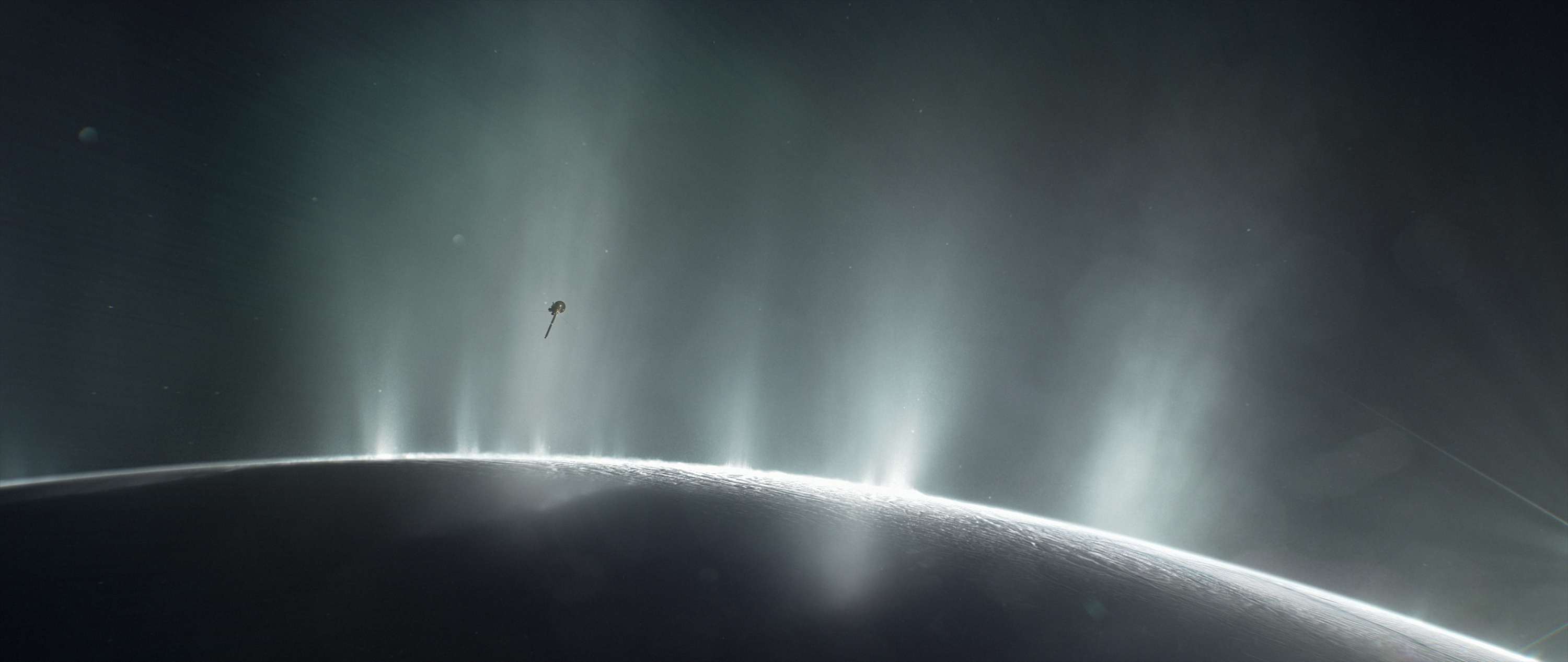 An artist's impression of the Cassini spacecraft flying through Enceladus' water jets.