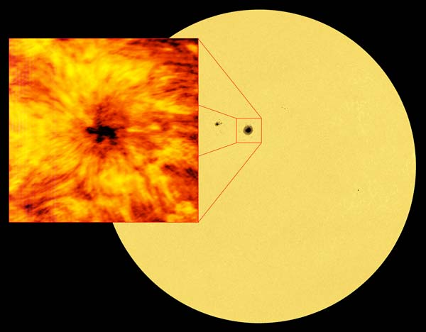 A sun spot that was revealed by ALMA during observations of the Sun.