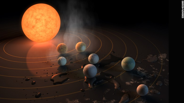 An artist's impression of TRAPPIST-1 and its seven Earth-like exoplanets.