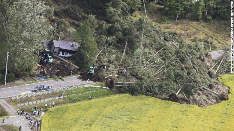 Part of the village after the landslides. Photo: CNN