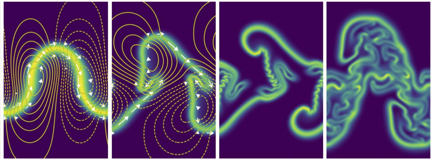 """A sheet of tiny swimming organisms that """"push"""" themselves through fluid with, say, flagella, create forces in the liquid that bend the sheet in asymmetric, shrinking folds. / Credit: Saverio Spagnolie"""