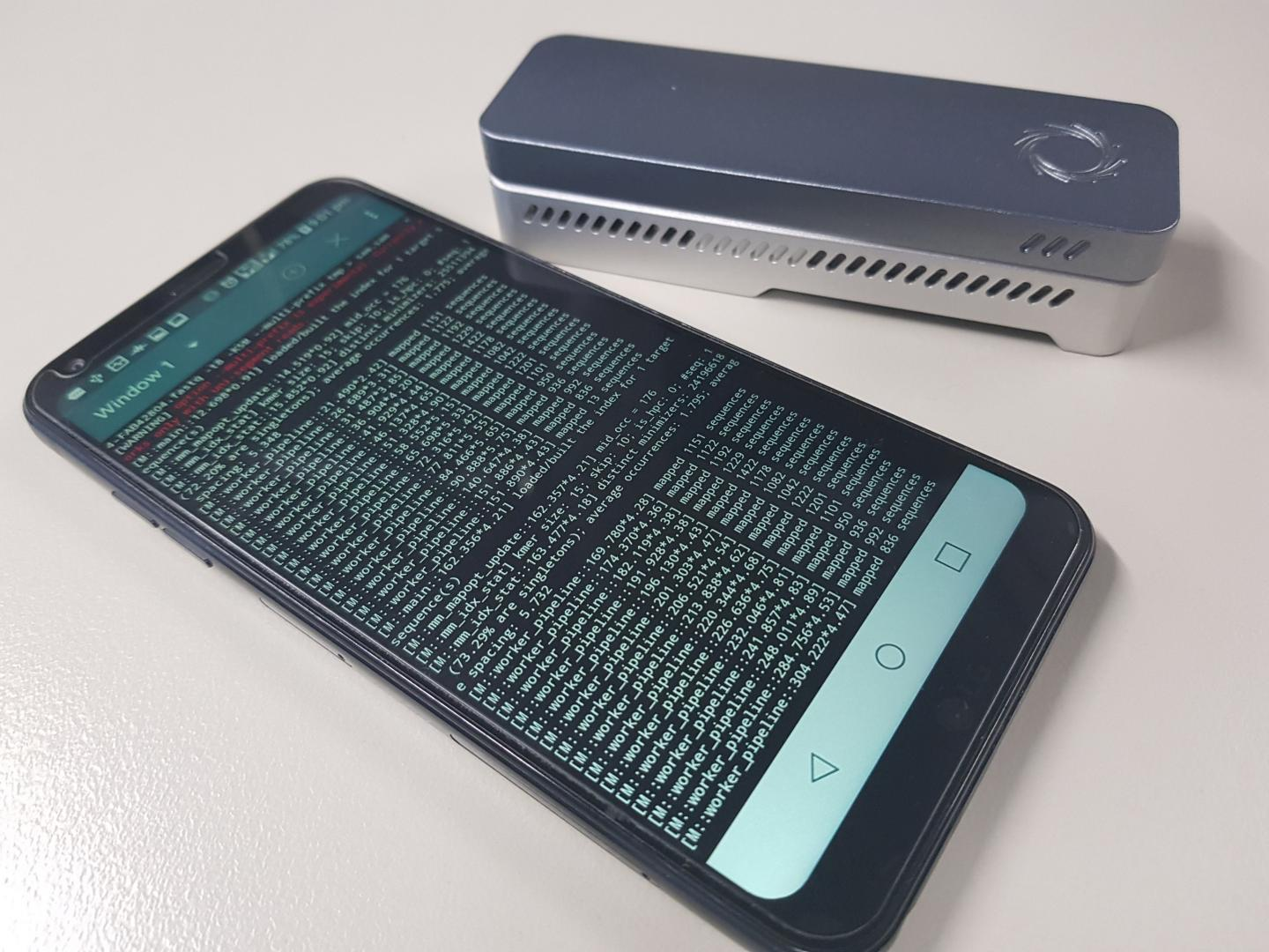 Garvan researchers have made it possible to do genomic analysis on a smartphone. The new technology can analyze data obtained through commercially available sequencers, such as the Oxford Nanopore Technologies MinION sequencer (pictured). / Credit: Hasindu Gamaarachchi