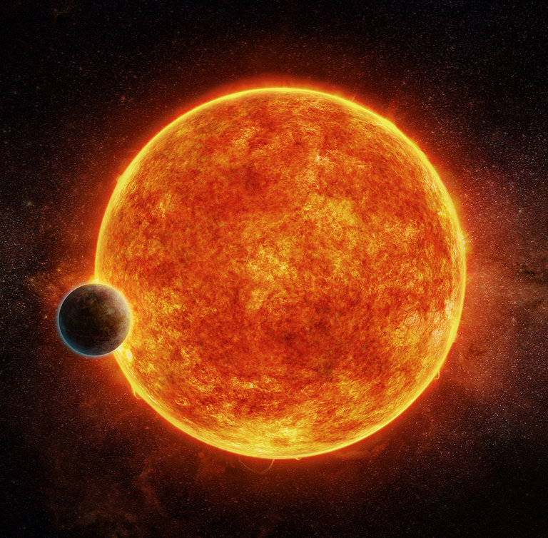 An artist's impression of LHS 1140b as it orbits its host star.