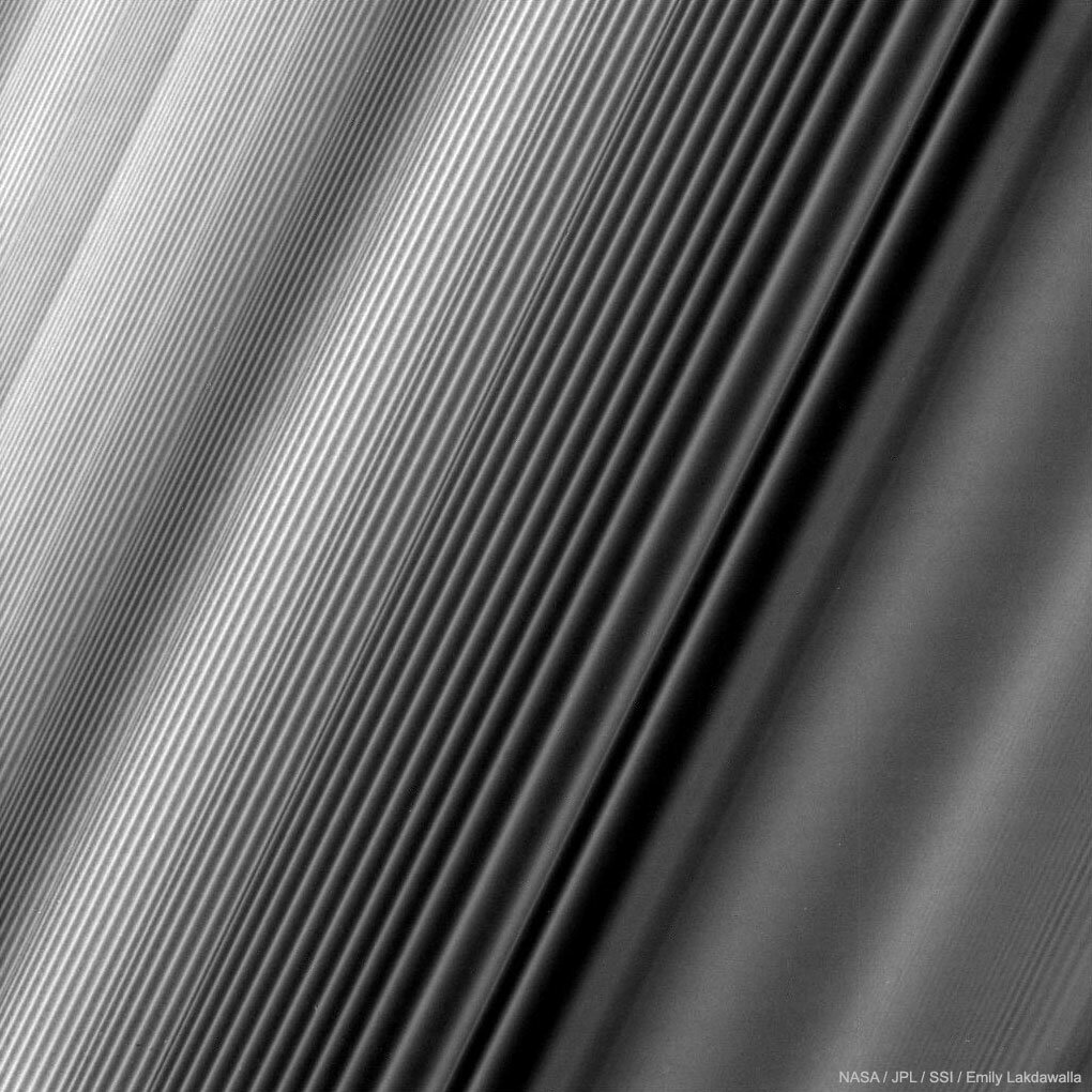 A close-up of Saturn's rings, captured with the Cassini spacecraft before its plunge in 2017.
