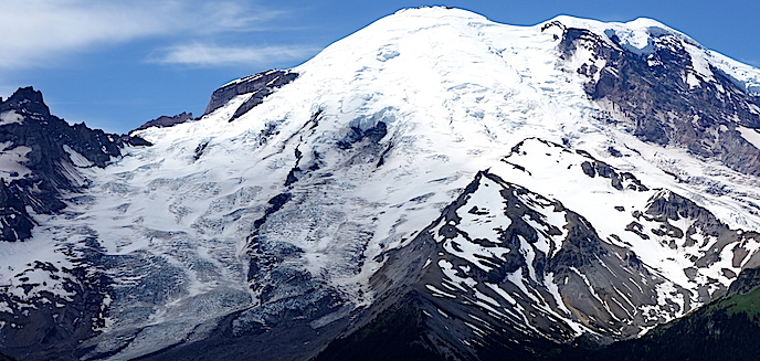 East face of Mount Rainier with views of the summit and the prominent Emmons glacier. Photo: NPS