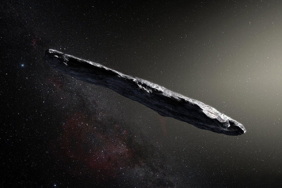 An artist's rendering of the cigar-shaped Oumuamua.