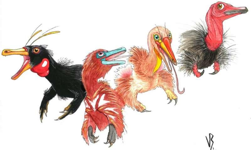 An illustration depicting two new dinosaur species alongside their ancestors.