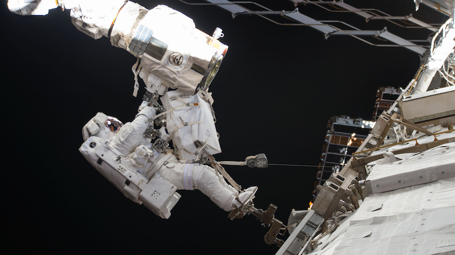 Astronauts maintain the Candarm-2, the International Space Station's robotic arm.