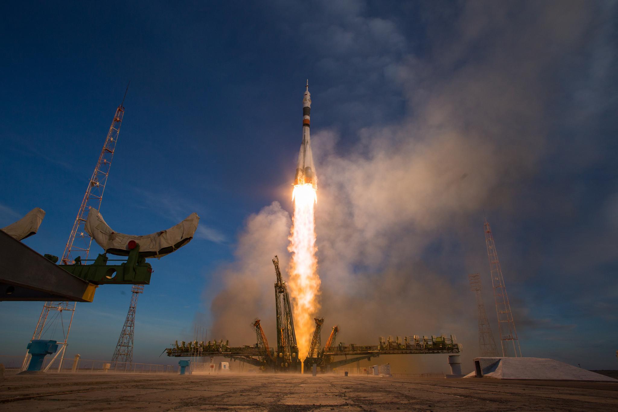 The Soyuz rocket blasted off from the Baikonur Cosmodrome in Kazakhstan.