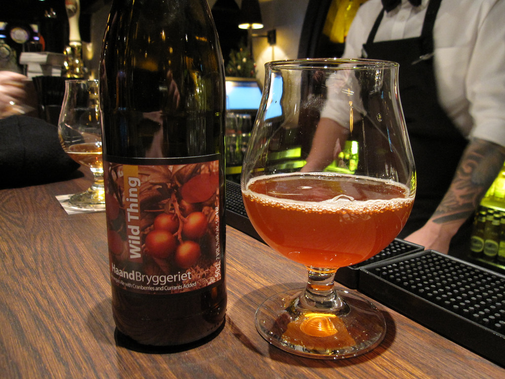 A bottle of Wild Thing from HaandBryggeriet in Drammen, Norway, at Håndverkerstuene in Oslo. Wild Thing is a 7% abv traditional Norwegian Ale brewed with wild yeast and with Cranberries and Currants added. / Credit: Flickr/Bernt Rostad