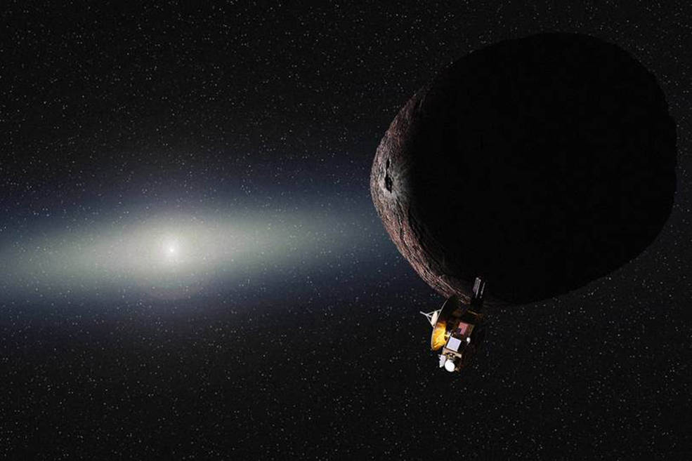 An artist's impression of New Horizons flying past KBO 2014 MU69.