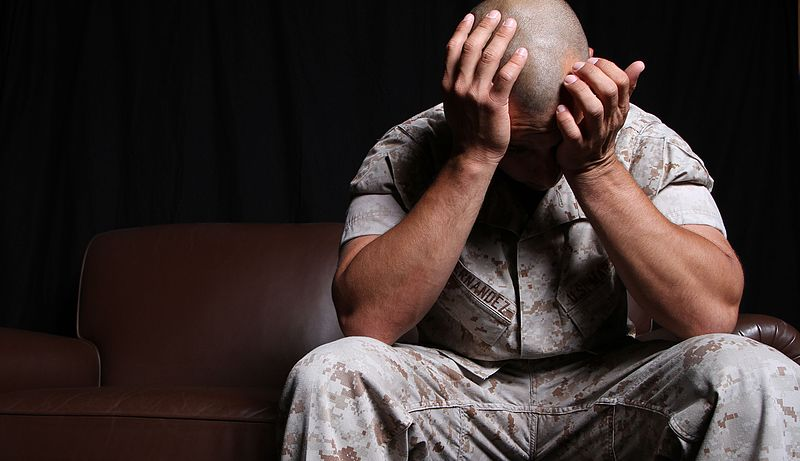 Many Marines return to the states with vivid memories of their combat experiences, and the array of emotions they face internally may be hard to detect. While changes in behavior are more obvious, symptoms can also manifest in physical form. / Credit: Public Domain / Marines from Arlington, VA, United States