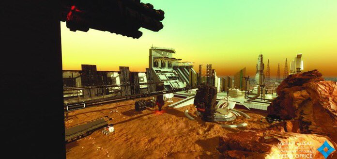 An artist's impression of a Martian city.