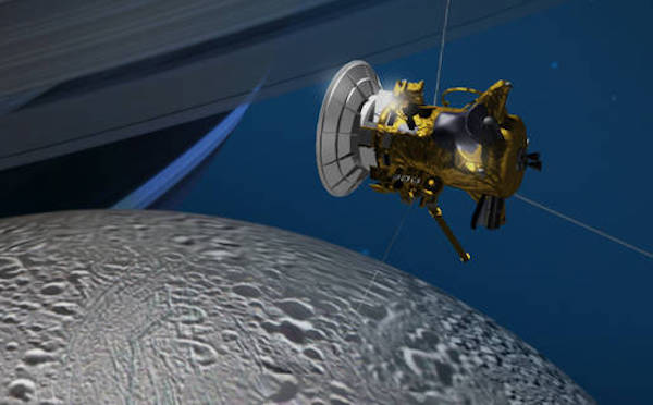 Artist's conception of Cassini's flyby of Enceladus