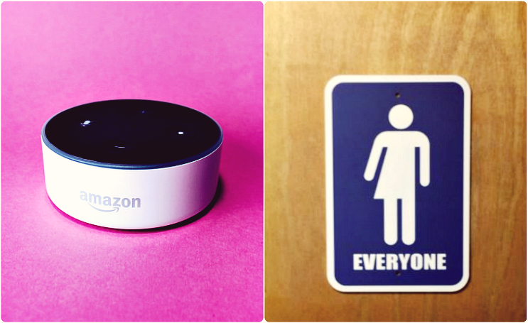 Image of Alexa and gender-neutral bathroom sign: Stock Catalog on Flickr and Naja Lightfoot on Instagram
