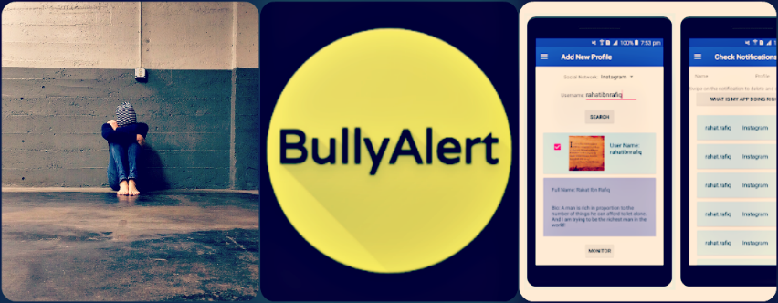 bullying representation and BullyAlert images, credit: public domain, CyberSafety Research Center