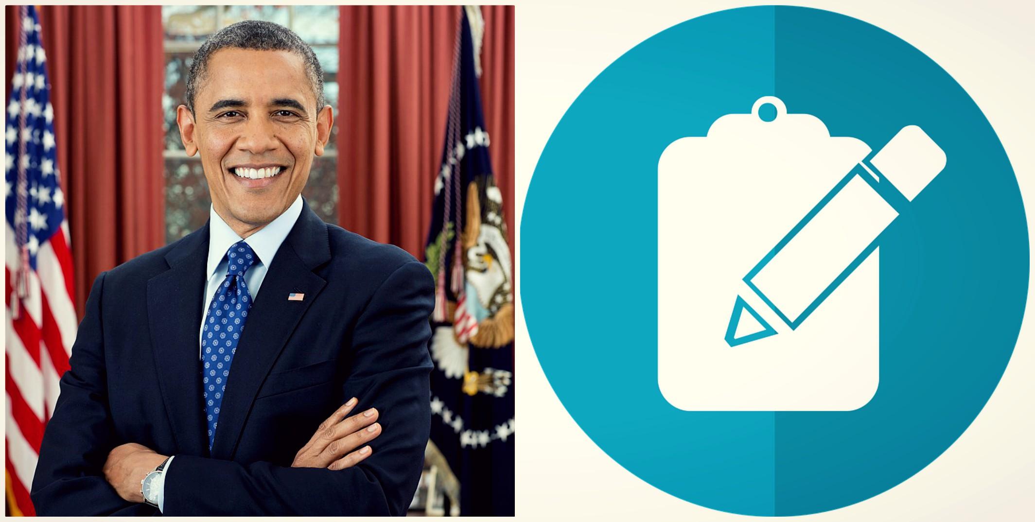 U.S. President Barack Obama and form icon, public domain