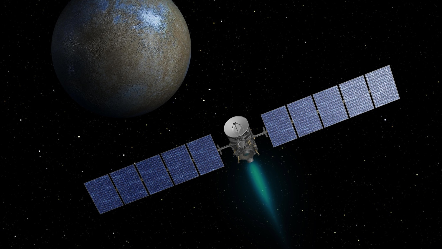An artist's impression of the Dawn spacecraft at the dawrf planet Ceres.