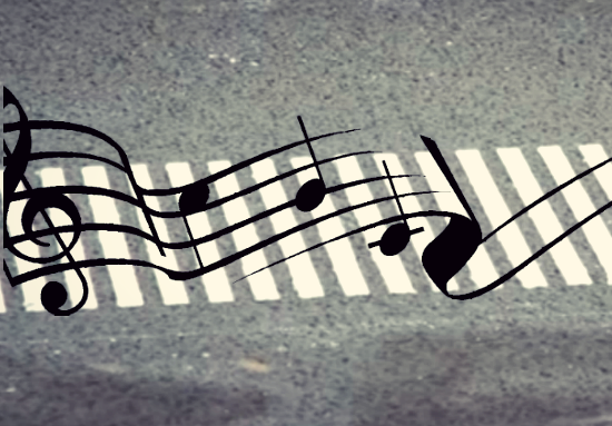 collage of musical notes on road, credit: public domain