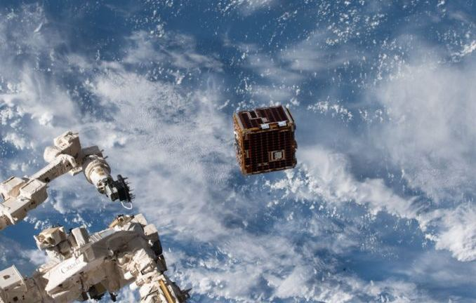 Here we see the RemoveDebris satellite ejecting from the International Space Station.