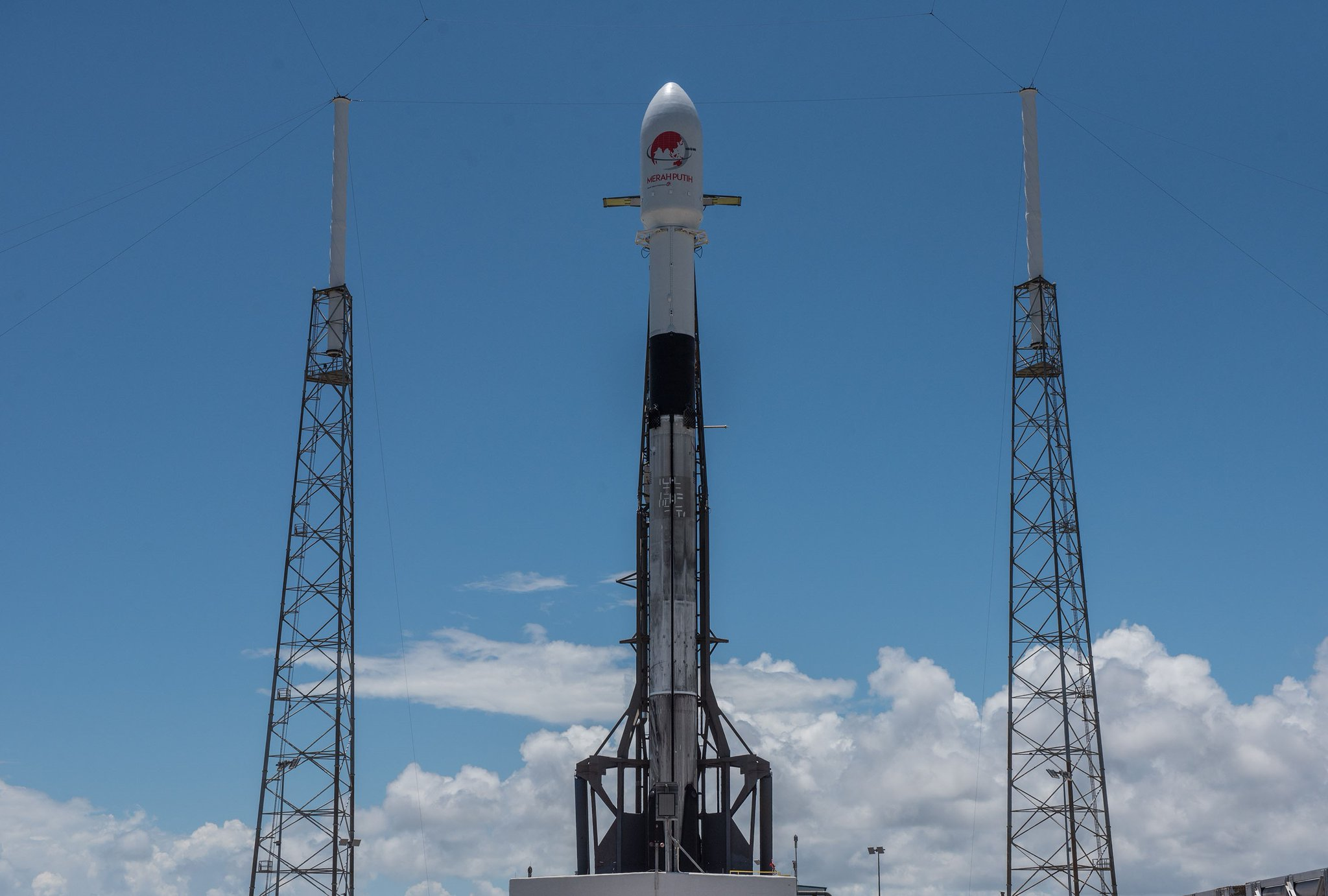SpaceX's Falcon 9 rocket stood tall in Cape Canaveral, Florida just before launch on Tuesday.