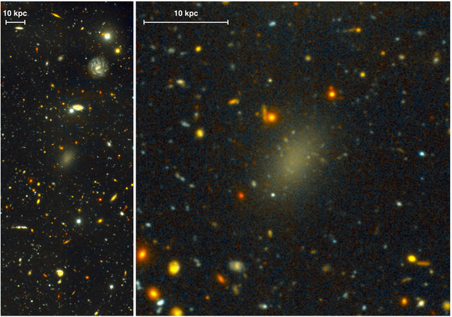 The faint galaxy named Dragonfly 44, as observed by the Gemini telescope.