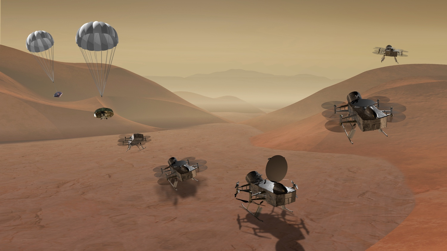 An artist's impression of the Dragonfly mission on Titan.