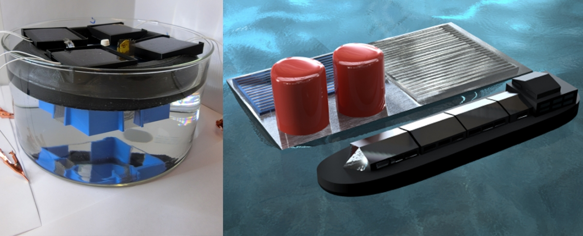 Left: photo of the stand-alone PV-electrolyzer prototype floating in a liquid reservoir of sulfuric acid. Right: rendering of a hypothetical large-scale