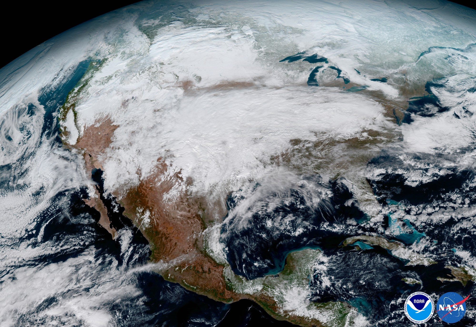This shot shows the United States, as seen from the GOES-16 point of view.