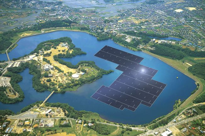 A rendition of the completed solar farm in Japan.