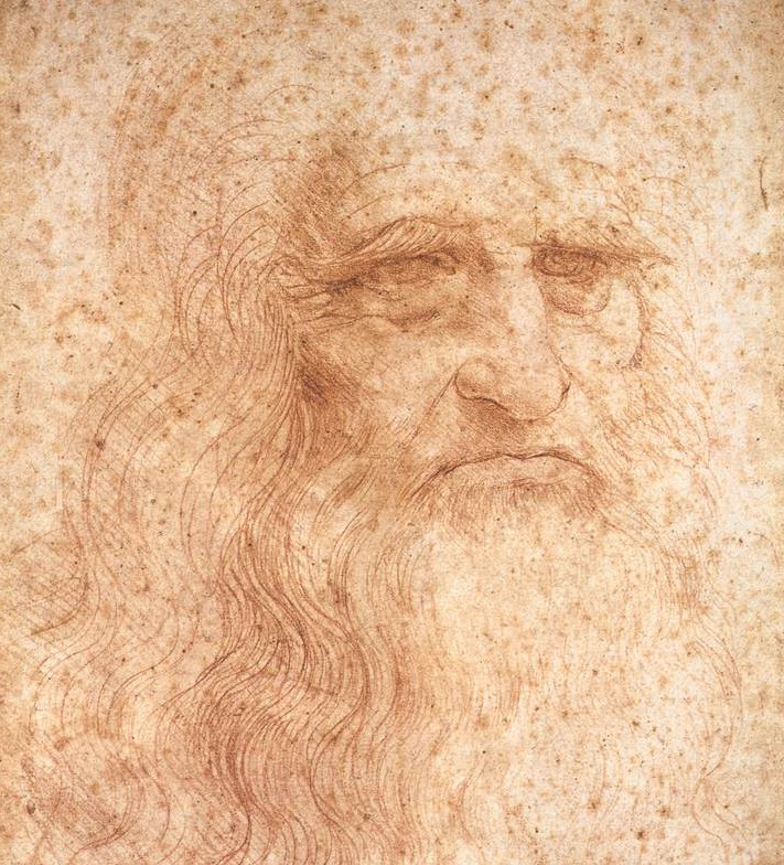 "da Vinci's self portrait is covered in ""foxing spots""."