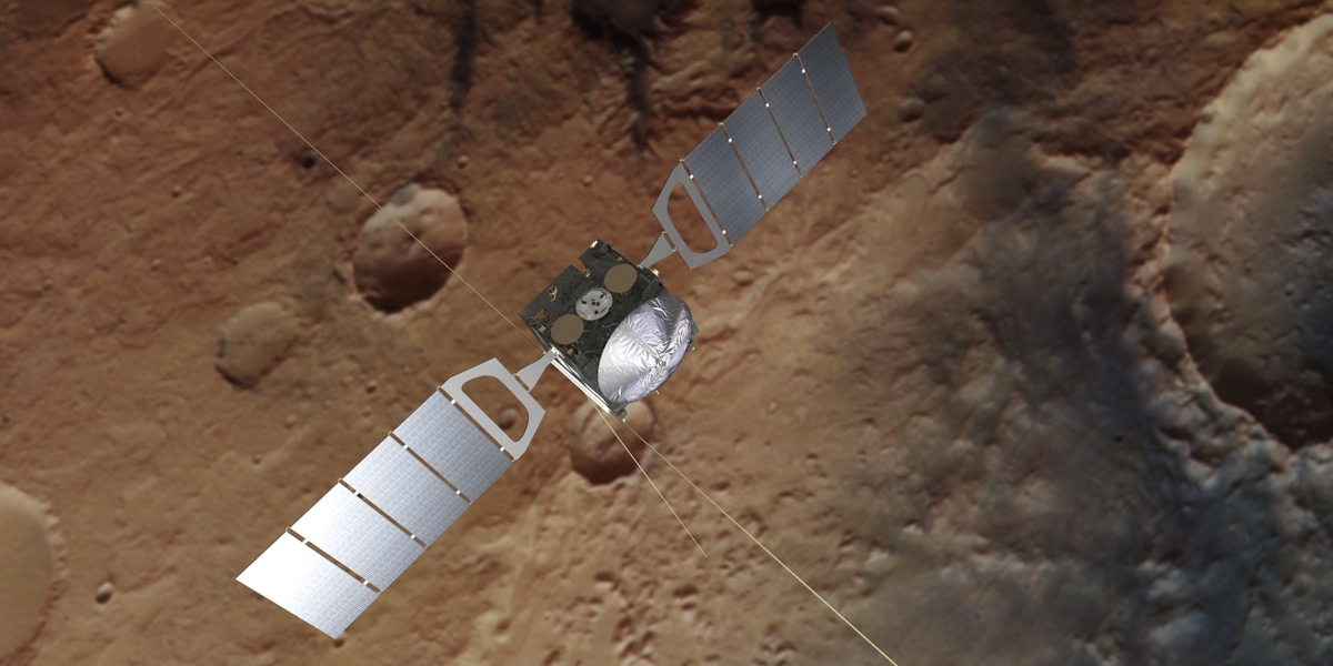 An artist's impression of the ESA's Mars Express spacecraft orbiting Mars.