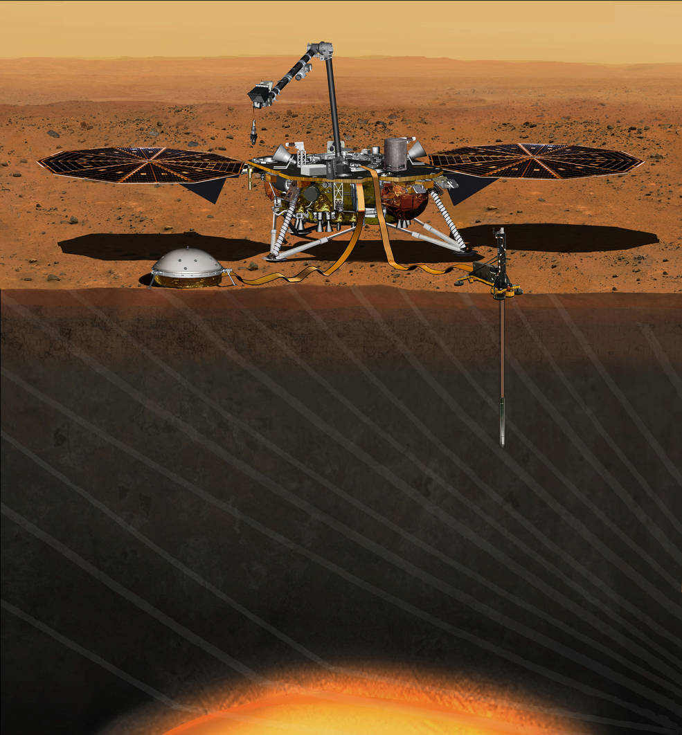 InSight will land on Mars' surface and dig 10 feet below to learn more about the red planet.