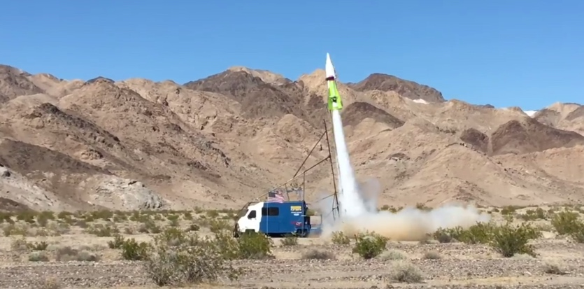 Cameras stood by as flat-Earther Mike Hughes' personal rocket took off from California's Mojave Desert.