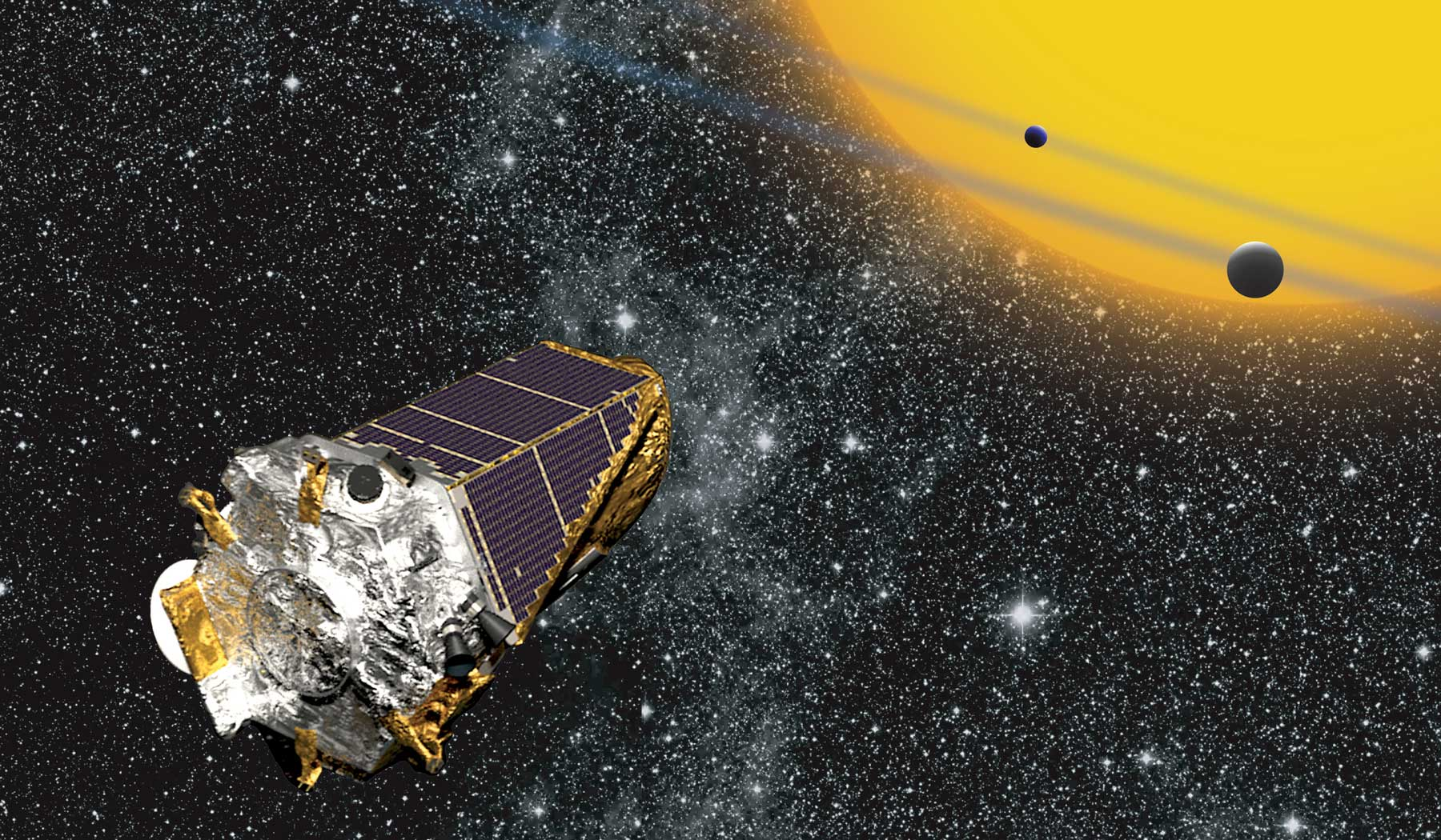 An artist's rendition of the Kepler Space Telescope.