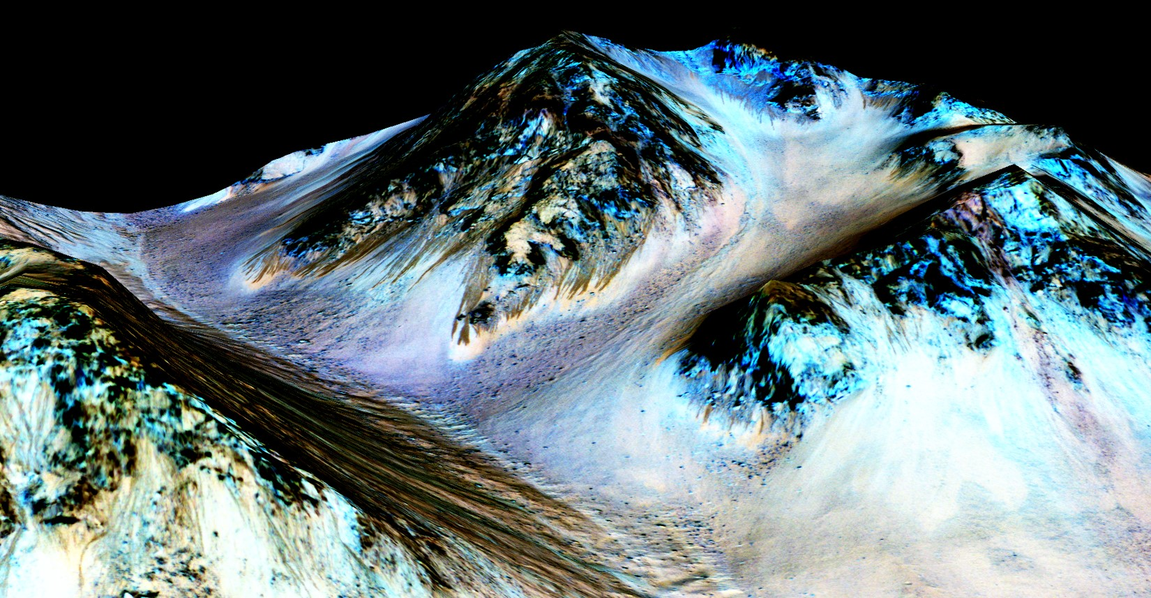 A secondary look at the RSL flowing downhill on Mars, said to be formed by contemporary flowing water.