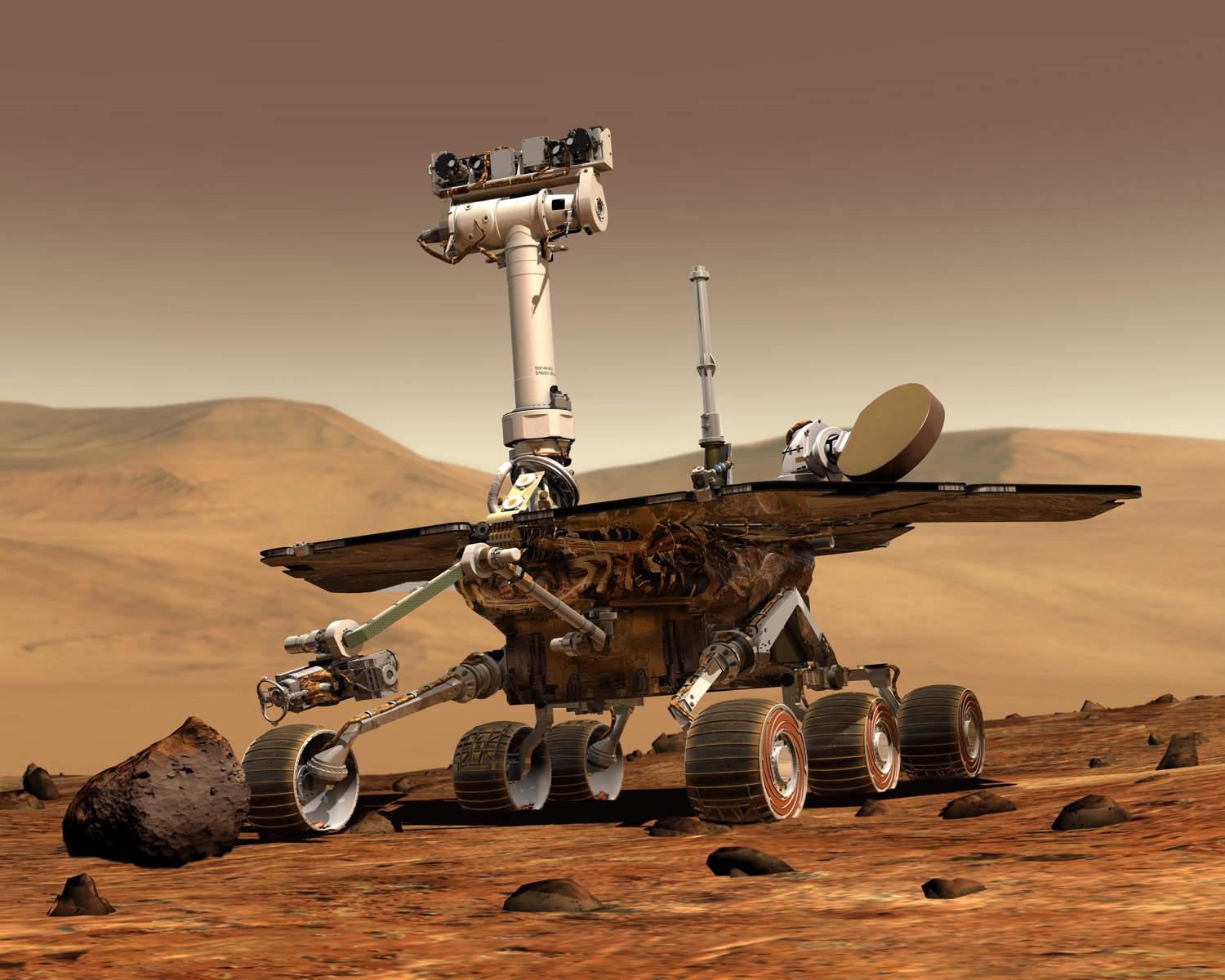 An artist's rendition of the Mars Opportunity rover.
