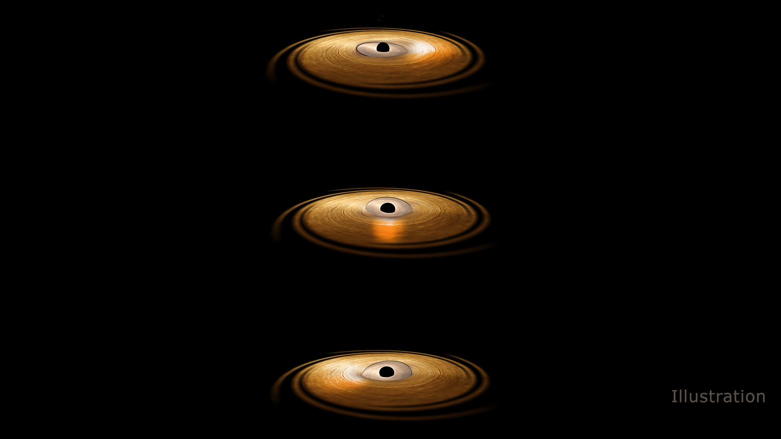 Astronomers observe a wobble in a black hole's accretion disc.