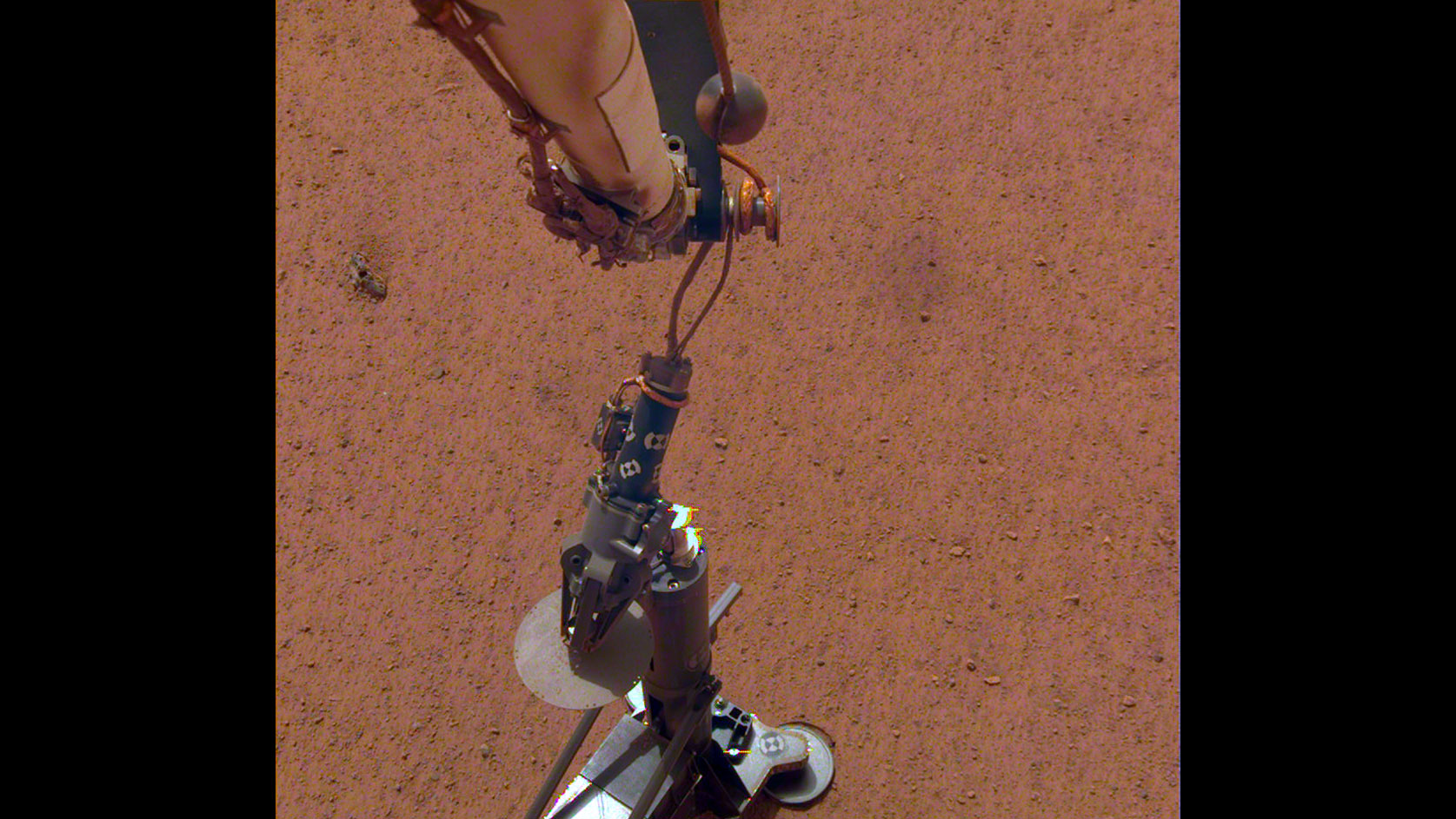 The InSight lander's heat flow probe after being set on the ground to begin digging.
