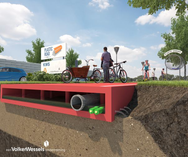 A prototype design of what a plastic road would look like. Photo: VolkerWessels