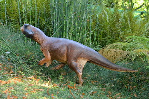 The scale model of the Psittacosaurus stands up for a camouflage test.