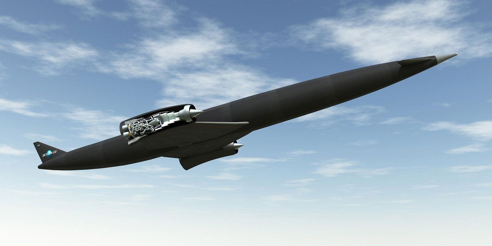 An artist's impression of Skylon, a space plane that could utilize a SABRE engine.