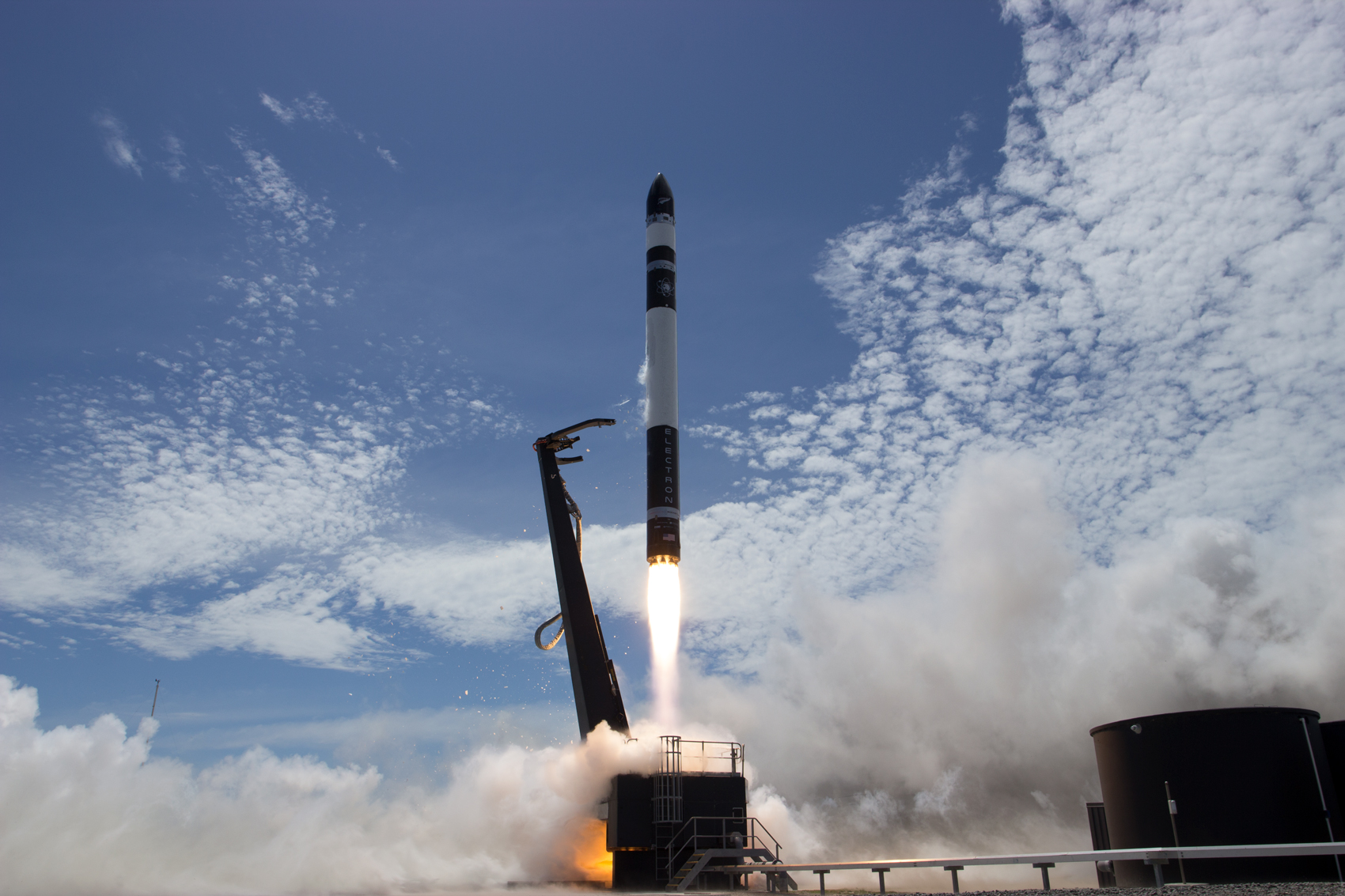 A look at the Electron Rocket as it launches from the New Zealand-based launch pad on Saturday.