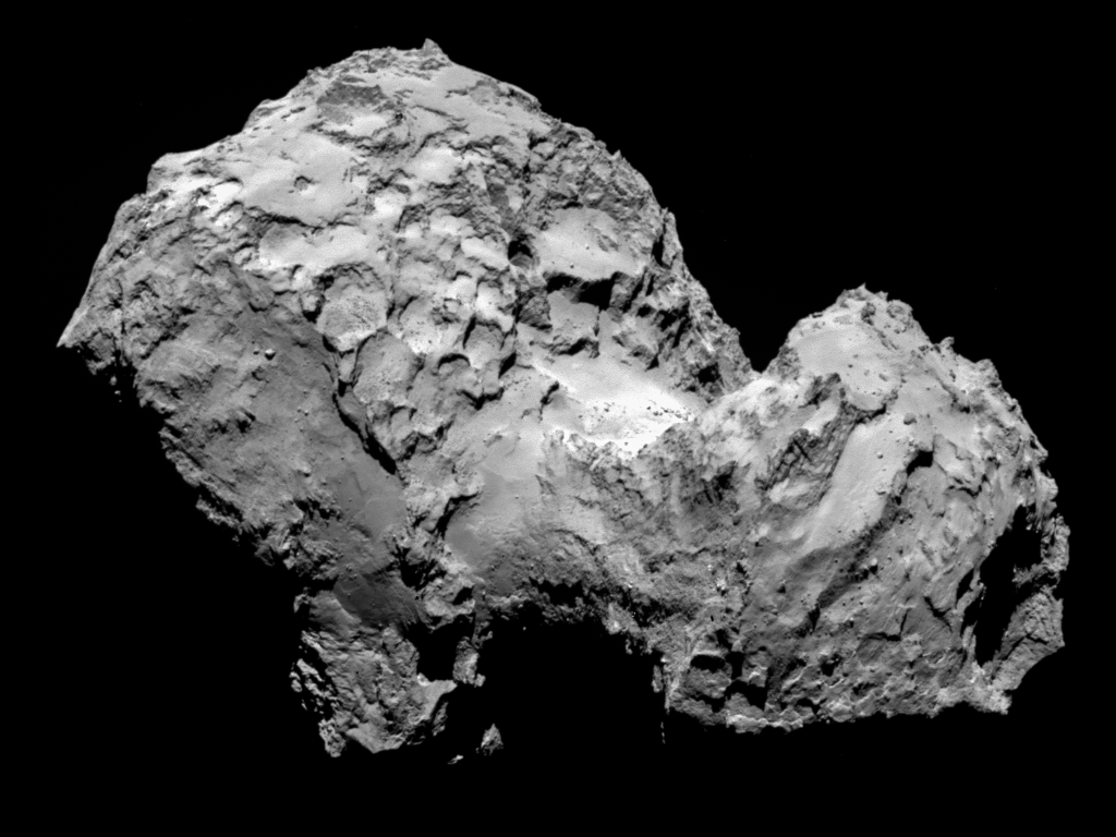 A picture of Comet 67P as taken by Rosetta.