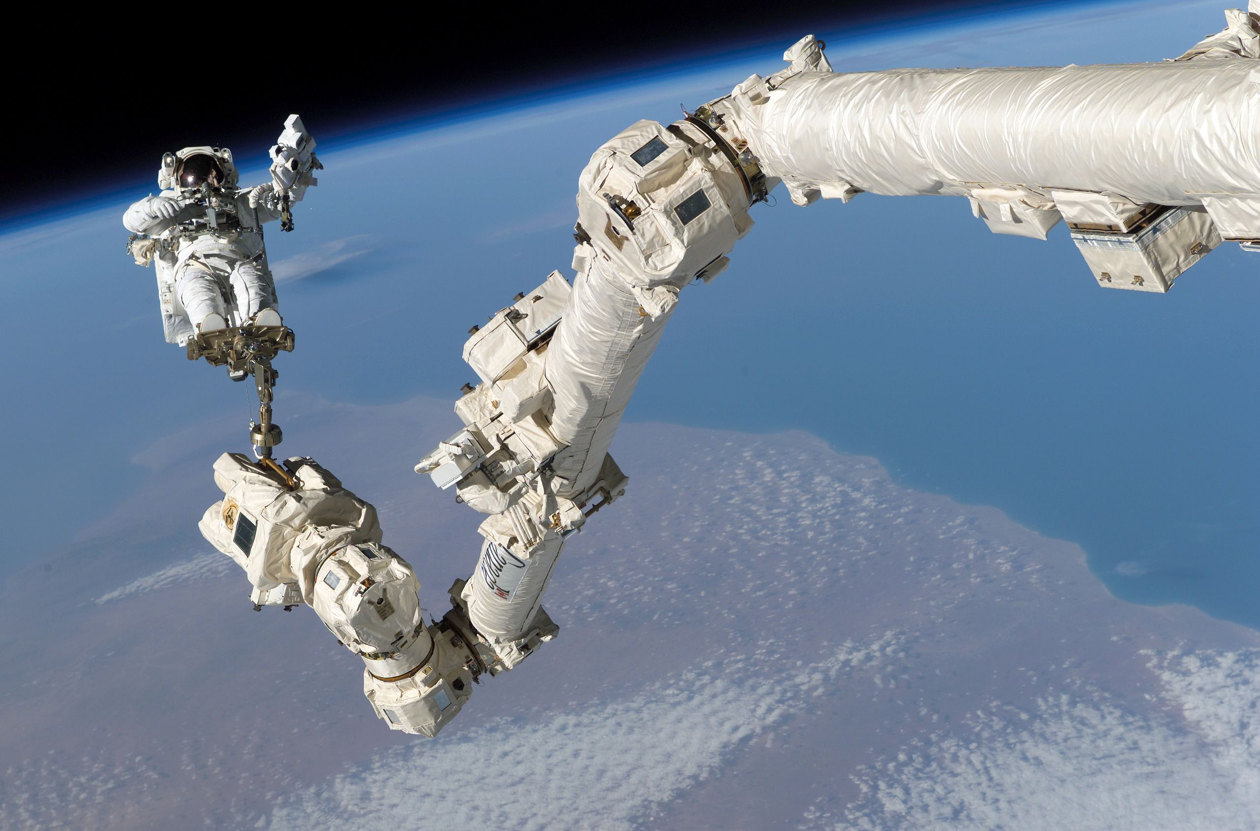 Canadarm2 pictured back in 2005, along with astronaut Steve Robinson.